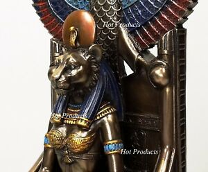Egyptian Goddess Sekhmet Sitting on Throne Statue Sculpture Antique Bronze Color $81.00