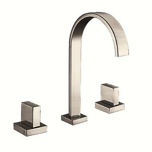 1001 NOW Bathroom Faucet in Brushed Nickel Modern Wide Spread Brass Pop-Up Drain