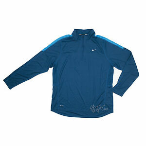 NWT Men NIKE Running 14 Zip Long Sleeve Teal Blue Dry Fit Active Shirt Size XL
