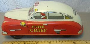 tin litho fire chief toy car