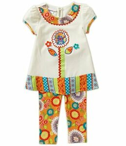Bonnie Jean Baby Girls Textured Flower Multi Spring Legging Set 12 18 24 Months $7.00