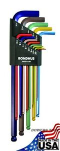 Bondhus 13 pc ColorGuard XL SAE Standard Inch Hex L Wrench Set .05-3/8 USA 69637