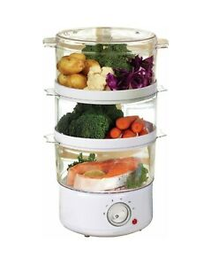 3 TIER FOOD STEAMER ELECTRIC COOKER 400W 7.2L CAPACITY PAN VEGETABLE POT WHITE