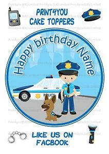 ND2 Police cartoon Birthday personalised round cake topper icing