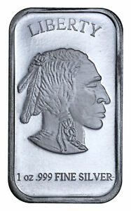 1 oz .999 Fine Silver Buffalo Liberty Bar Sealed in Plastic SKU40117