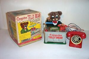 mint 1950 s battery operated telly bear tin