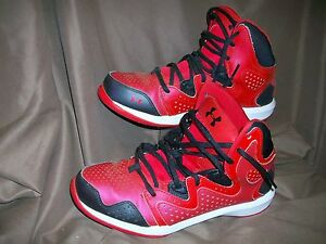 *USED* UNDER ARMOUR YOUTH CHILDS BOYS GIRLS SZ 6.5 Y BASKETBALL SHOES RED BLACK