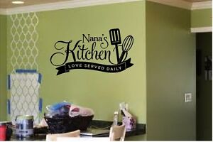 NANAS KITCHEN LOVE SERVED DAILY VINYL DECAL WALL LETTERS WORDS HOME KITCHEN
