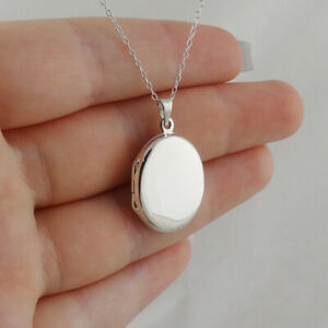 Plain Oval Locket Necklace 925 Sterling Silver Engravable Two Sided Photo NEW $24.00