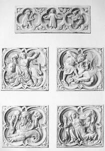 ARCHITECTURE PRINT : ROUEN Cathedral Sculptural Cartouches Side Portal France
