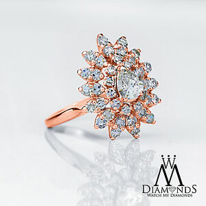 2.25 Ct Vintage style Pear Shape Diamond Ring 14K Rose Gold luxury Design