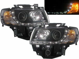 Transporter T4 1996-2003 Projector LED R8Look Headlight Black for Volkswagen LHD