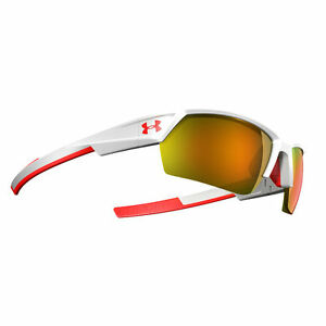 Under Armour Igniter 2.0 Shiny White Frame wRed Rubber Orange Mirror Lens