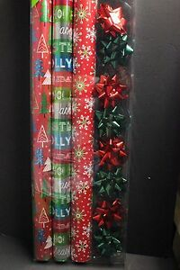 3 Roll Wrap 8 Bow 8 Gift Tag Variety Pack Holiday Christmas Wrapping Gift Paper4