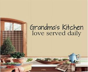 GRANDMAS KITCHEN LOVE SERVED DAILY VINYL WALL LETTERS HOME DECOR KITCHEN