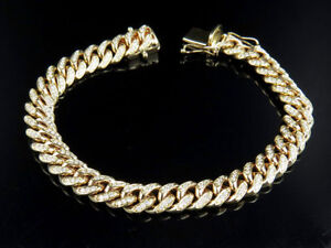 Men's Solid 10K Yellow Gold Miami Cuban Link Real VS Diamond Bracelet 3.1ct 9MM