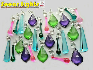 KITSCH CRYSTALS CHARMS CHANDELIER CRAFTS PARTS 25 GLASS DROPS BEADS DROPLETS