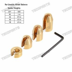10 Sets Reusable Motorcycle Wheel Balance Weights For Spoke Wheels