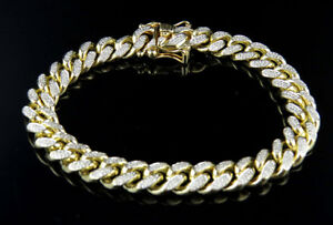 Men's Solid 10K Yellow Gold Real Diamonds Miami Cuban Link Bracelet 2.50ct 10MM