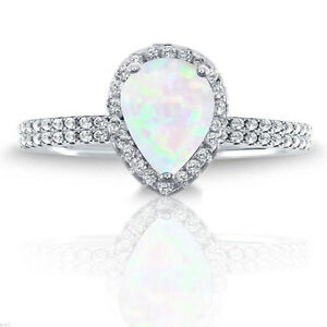 White Fire Opal Pear Drop Cut Engagement Wedding CZ Sterling Silver Ring Set