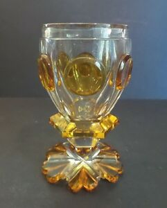 ANTIQUE BOHEMIAN CZECH CASED OVERLAY 2 -LAYER GLASS BEAKER  TUMBLER