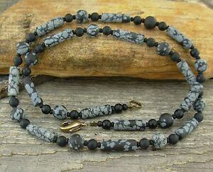 Unisex or Mens Black Necklace in Obsidian and Black Onyx Small to X-Large