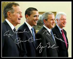 Obama Bush Clinton Bush Autograph Repro Photo 8X10 4 American Presidents