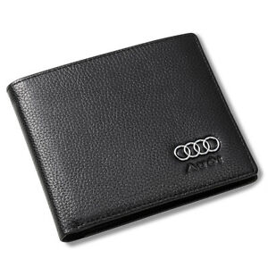 Audi Bifold Wallet Black Genuine Leather with 6 Credit Card ID Holder Men Car