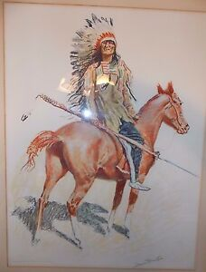1901 Frederic Sackrider Remington Lithograph Chief Very Heavy Stunning!