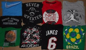 Lot 9 Nike Under Armour Adidas Jordan Lebron Boys T-Shirts S Small READ