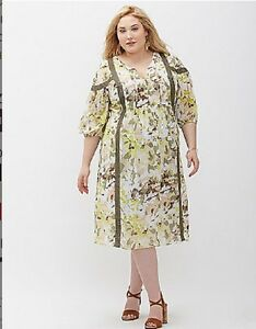 Lane Bryant Printed Peasant Dress Leaf Camo Plus Size 2224 3x NEW With Tags