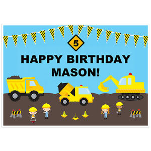 Under Construction Dump Truck Birthday Banner Dessert Cake Table Personalized...