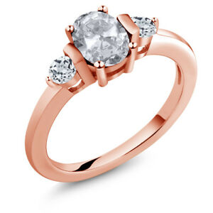 1.23 Ct Oval White Topaz 18K Rose Gold Plated Silver Ring