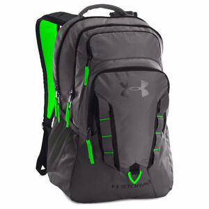 Under Armour Storm Recruit Backpack Sports Bag New Graphite w Green 1261825-040
