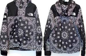 The North Face x Supreme Black And White BANDANA Hoodie Mountain Parka Jacket