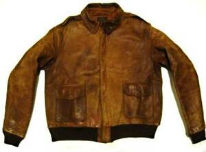Vintage Perry Sports Wear Leather Flight Aviation A-2 Rough Wear Brown Jacket