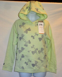 Under Armour Girls Light  Green Kaleidalogo French Terry Hoodie Size Large  NWT