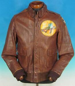 Vintage Perry Sports Wear Brown Leather Type A-2 Military Air Force Army Jacket
