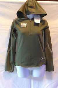 Under Armour Girls Green Coldgear Reflective Popover  Hoodie Size  Small NWT