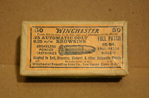 Ultra Rare Vintage Winchester .25 Auto 2pc Ammo Shell Box Empty 50gr Full Patch