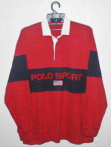 VINTAGE RALPH LAUREN POLO SPORT USA FLAG RUGBY SHIRT STADIUM P WING LO LIFE