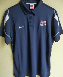 Women's Nike FIT-DRY USA Basketball Polo Shirt Large (12-14) NEW