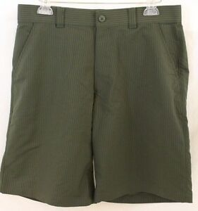 UNDER ARMOUR Sz 34 Mens Green Strip Flat Front UA Golf Shorts 1254347 NWT $54.99