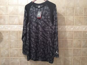 NIKE JUMPMAN CAMO BLACKGREY DRY-FIT BASKETBALL SHIRT LARGE JORDAN 706721 010