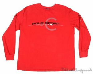 POLO RALPH LAUREN SPORT Vintage Red 1967 Cotton Casual Long Sleeve Shirt LARGE