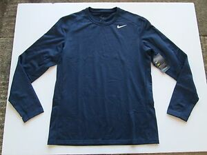 New NIKE Dry WARM Men's Long Sleeve Fitted Shirt L Dri-Fit 777352 451 Athletic
