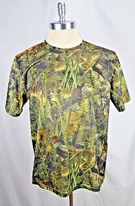 New Paramount Outdoors Men's Large Bass Fish Camo Green Polyester Dry Fit Shirt