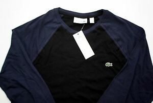 LACOSTE Baseball Style Shirt TH3364 Black Navy Blue Men's Medium 4 Color Block