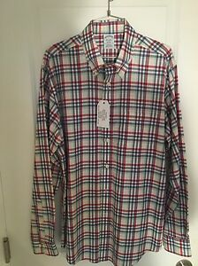 NWT Brooks Brothers Men's Regent Sport Shirt Non-Iron Size Large Red Pink Green