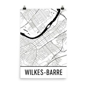 Wilkes-Barre PA Street Map Poster